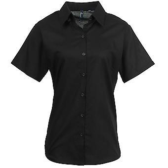 Premier Womens signatur Oxford bomull Kortärmad skjorta