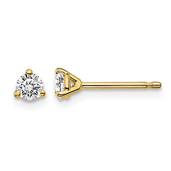 1/4 Carat (ctw VS2-Si1, D-E-F) Lab Grown Diamond Solitaire Stud Earrings in 14K Yellow Gold