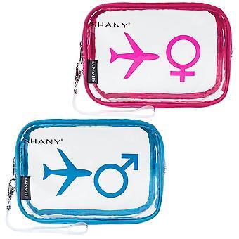 SHANY له ولها TSA وافقت شركة طيران ودية واضحة حمل على أكياس السفر المرحاض ومنظم الشخصية - مقاومة للماء - مجموعة من 2 للأزواج