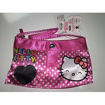 Příruční taška-Ahoj kočičko-šťastná tvář černé srdce růžové nové 667440