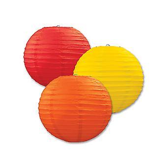 Papier Laternen (Pack Von 3) - Orange, Gelb & Rot