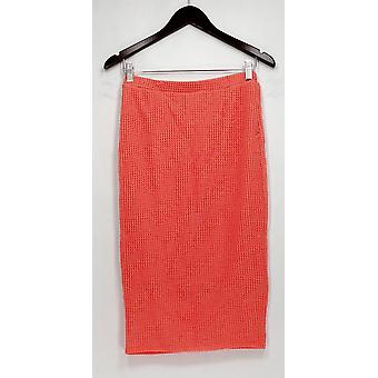Bobeau Skirt Mesh Overlay Stretch Knit Pull On Coral Pink