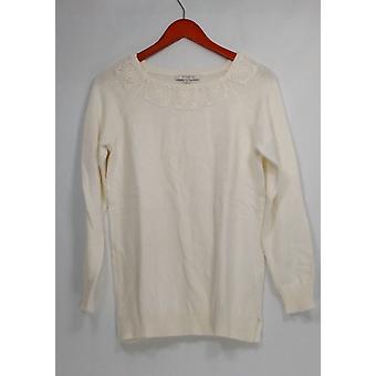 Liz Claiborne New York Sweater Pullover w/ Crochet Detail Cream Ivory A268717