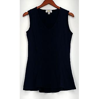 Kathleen Kirkwood Top Sleeveless Stretch Knit V-Neck Tank Blue A284500