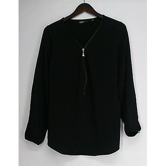 Edge by Jen Rade Top Long Sleeve Zip Front Black A258262