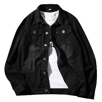 Allthemen mænd ' s denim jakke retro slim fit efterår bomuld cowboy frakke