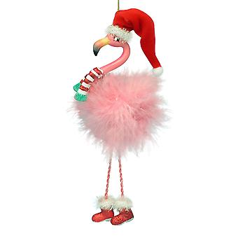 Kurt Adler roze Flamingo in kerstmuts en roze Boa veren Holiday Ornament