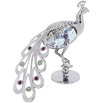 Crystocraft Freestanding Proud As A Peacock Ornament Chrome Plated Made With Swarovski Crystals