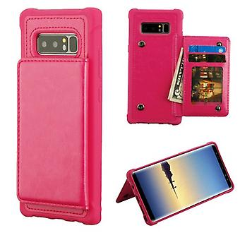 MYBAT Hot Pink Flip Wallet Executive Protector Cover(TPU Case with Snap Fasteners) for Galaxy Note 8