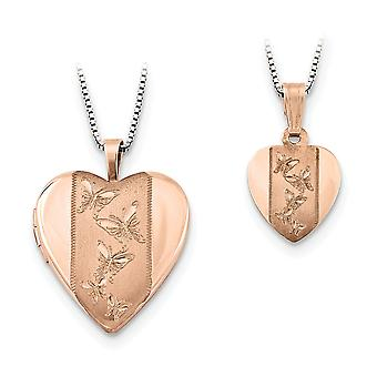 925 Sterling Silver Rose 14k Gold Plaqué Polished and Satin Butterfly Angel Wings Love Heart Photo Locket Penla