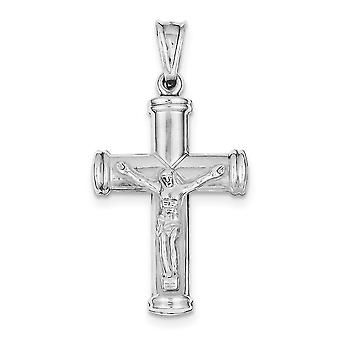 925 Sterling Silver Hollow Polished Reversible Sparkle Cut Rhodium plated Latin Crucifix Pendant Necklace Jewelry Gifts
