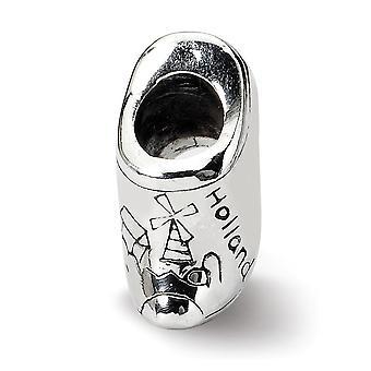 925 Sterling Silber poliert Finish Reflexionen SimStars Holland Schuh Perle Charme Anhänger Halskette Schmuck Geschenke für Wome