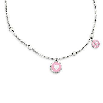 925 Sterling Silver Freshwater Cultured Pearl and Enamel Love Heart And Peace Sign Necklace 14 Inch