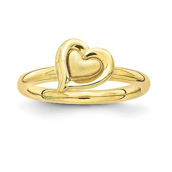 2.25mm 925 Sterling Silver Stackable Expressions Gold-Flashed Heart Ring - Ring Size: 5 to 10