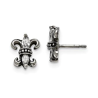 Stainless Steel Fleur De Lis With CZ Cubic Zirconia Simulated Diamond Post Earrings Jewelry Gifts for Women