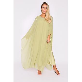 Kaftan kym übergroßen hohen Hals leicht Maxi-Kleid in grün