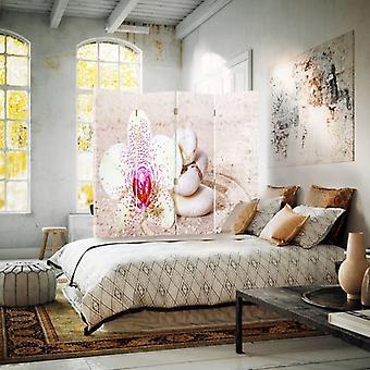 Raumteiler, 4 Paneele, Doppelseitig, Drehbar 360, Leinwand, Sand Zen