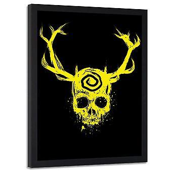 Poster no frame, crânio com Antlers