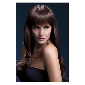 シエーナ ウィッグ、ブラウン、長いフリンジ デザインの凝った服アクセサリー 66 cm/26 で羽をフィーバーします。