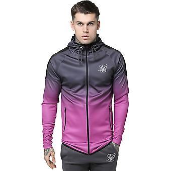 Sik Silk Raglan Athlete Fade Taped Zip Front Hoodie Charcoal 03