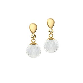 Eternal Collection Belgravia Crystal Disco Ball Gold Tone Stainless Steel Drop Clip On Earrings