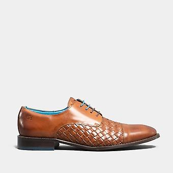 Oswin Hyde Heath Mens Leather Woven Derby Shoes Cognac