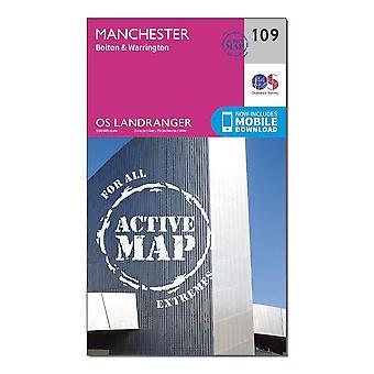 New Ordnance Survey Landranger Active 109 Manchester  Bolton & Warrington Map Orange