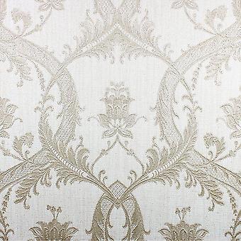 Élégant Milano Damask Glitter Beige crème papier peint mur décoration 10.05mx0.53m
