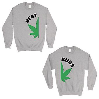 Best Buds Marijuana Grey Matching Sweatshirt Pullover For Wedding
