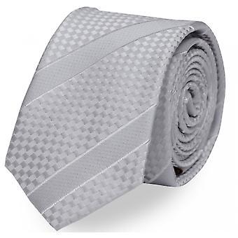 Slips cravatta cravatta legare 6cm grigio argento uni striscia checker Fabio Farini