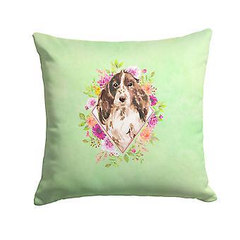 Brown Parti Cocker Spaniel Green Flowers Fabric Decorative Pillow