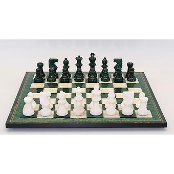 Groene & wit albasten Schaken set houten frame