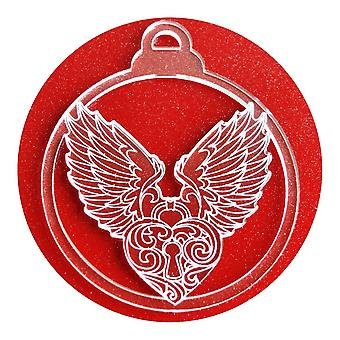 6 Pk Engelsflügel und Herz Acryl Weihnachtsschmuck