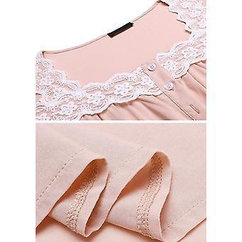 Donna più taglia morbida mezza manica Camicia da Notte Pizzo Collo, Rosa, Taglia 22W