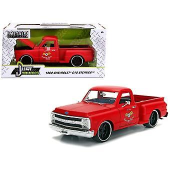 1969 Chevrolet C10 Stepside Pickup Truck Matt Red Garage Nuts Just Trucks Series 1/24 Diecast Model Car by Jada