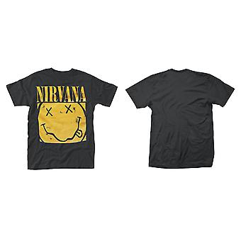 T-shirt officiel De Nirvana Smiley Square Kurt Cobain Grunge Rock
