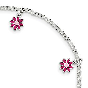 925 Sterling Silver Polished for boys or girls Enameled Flower Bracelet 6 Inch