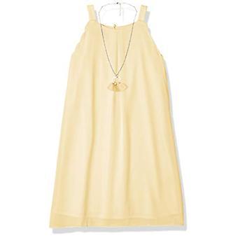 Amy Byer Girls' Scalloped Edge A-Line Dress, Jardín, Jardín Amarillo, Tamaño 14
