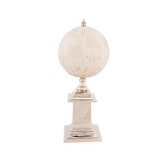"6.5"" x 6.5"" x 14.5"" Bone Globe With Alluminum Base"