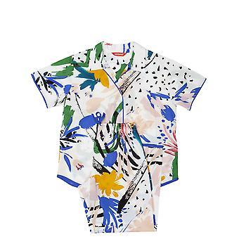 Minijammies 5553 Girl's Alicia White Abstract Print Cotton Woven Pyjama Set