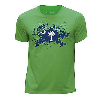 STUFF4 Boy's Round Neck T-Shirt/State/South Carolina Flag Splat/Green