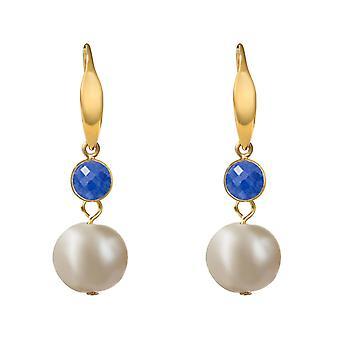 Boucles d'oreilles GEMSHINE perles de culture et saphirs bleus en argent, or plaqué ou rose