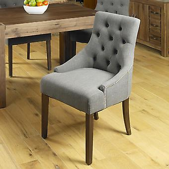 Walnut Accent Upholstered Dining Chair - Slate (Pack Of Two) - Baumhaus