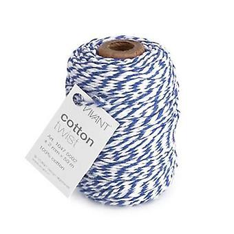 Vivant Cord Cotton Twist royal blue / white - 50m x 2mm
