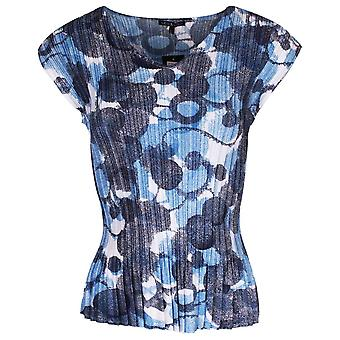 Leo & Ugo Non-iron Blue Floral Capped Sleeve Top