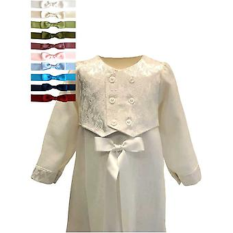 Christening Gown For Boys - Grace Of Sweden - In Linen With Brocade Vest, 10 Choices Of Bow