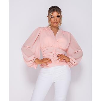 Shirring Detail Wrap Front Top - Ladies - Pink