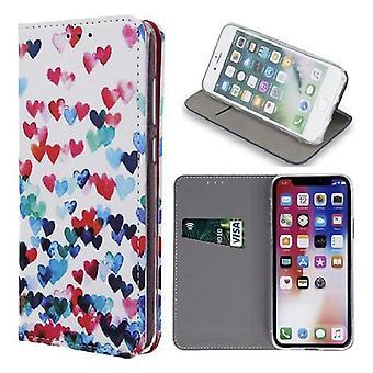 iPhone XS Max - Smart Trendikäs Hearts Mobile Lompakko Tapauksessa