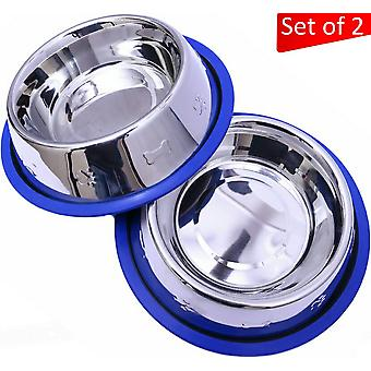 Set of 2 etched stainless steel dog bowls with blue silicone base