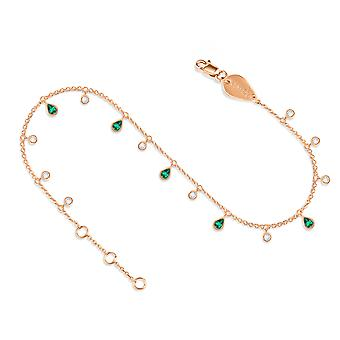 Anklet Glitter 18K Gold and Diamonds - Rose Gold, Emerald